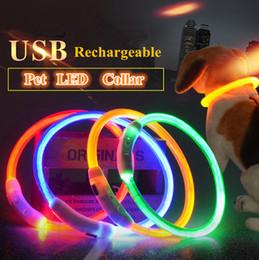 2019 collari per cani usb A29 Collare di sicurezza per cani USB ricaricabile Collare di sicurezza per cani regolabile LED Collare di sicurezza per la notte LED Accendi la luce notturna per animali domestici collari per cani usb economici