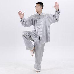 2019 roupa tradicional kung fu Unisex Taiji Ternos Tradicional Chinesa Vestuário Tai Chi Uniformes Tang Terno de Manga Longa Kung Fu Artes Marciais Roupas Tops Calças desconto roupa tradicional kung fu