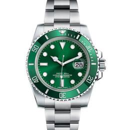 relógios de imitação Desconto Designer Ceramic Bezel Mens New Green Men 2813 Mechanical SS Luxo Movimento Automático Assistir esportes Auto-vento Moda Relógios de pulso
