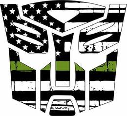 2019 pegatinas de transformador Bandera hecha andrajos transformador de Autobot verde etiqueta de la ventana para el coche auto / parachoques / etiqueta de la ventana de la etiqueta engomada DIY Decoración CT2187