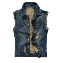 Moda Uomo Moto Jean Vest Blu scuro strappato Distrutto lavato Slim Fit giacca di jeans senza maniche per gli uomini più dimensioni cheap mens denim motorcycle vest da maglia del mens del denim fornitori