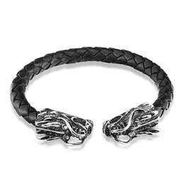 Горячие мужчины roped онлайн-2019 Hot Dragon Stainless Steel Bracelet Men Cuff Braid Leather Bracelet ewelry Magnetic Clasp Rope Chain Pulseira Homens