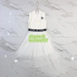 vestido de la pista de la rodilla Rebajas Mujeres A-Line Camisa con letras vintage Vestido de malla Vestido con cuello de solapa La marca de alta costumbre A-Line Runway Vestido corto con falda y patrón