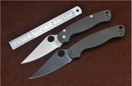 facas de borboleta flail Desconto Faca de aranha C81 faca + padrão de fibra de carbono (back lock faca dobrável) S30V lâmina C85 + C36 acampamento ao ar livre caça ferramenta EDC