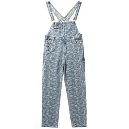 Nuevo diseño de pantalón de carga online-Monos de Hip Hop Hombres 2019 Harem Bib Pantalones Nuevo diseño Anacardo Bordado completo Moda Pantalones Tirantes Cargo Joggers