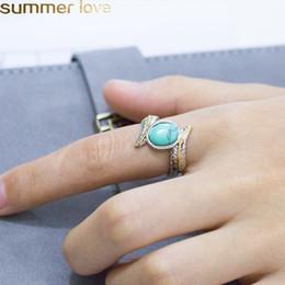 2019 melhor jóias personalizadas Anéis de turquesa de penas do vintage nova moda jóias de prata cor personalizado turquesas anel para mulheres anel de dedo de casamento melhores presentes melhor jóias personalizadas barato