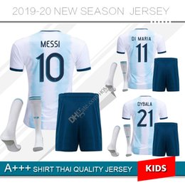 2019 2020 camisa de futebol da Argentina Crianças Kit 19 20 MESSI em casa camisas de futebol criança Aguero Di Maria Dybala longe shorts de futebol da camisa de
