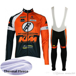 Pantalones de montaña de invierno online-KTM team Cycling Winter Thermal Fleece jersey manga larga babero conjuntos conjuntos ropa ciclismo mountain bike ciclismo ropa racing bike wear