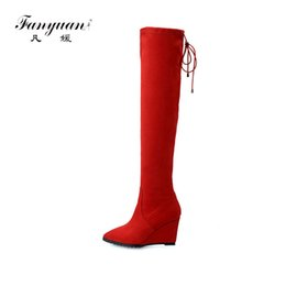 79369f23a02 Fanyuan high wedges heels women over the knee high snow boots platform  ladies party boots autumn winter warm fur shoes woman discount women wedge knee  boots