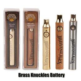Ottone Knuckles Batteria 650mAh Buona 900 mAh Legno SS Vape Penna Preriscaldamento VV Batteria a tensione variabile per 510 Kingpen Cartuccia Olio Spessa Serbatoio da
