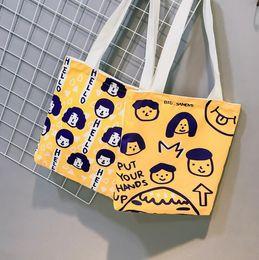 sacos estampados de algodão para menina Desconto Saco de Compras de algodão Impressão Da Lona Das Mulheres Graffiti Mercearia Totes Sacos de Ombro Adolescente para a Menina Moda Bolsa Ocasional Bolsa