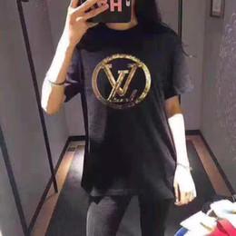 estilo camisa oversized Desconto 2019 Runway Moda lantejoulas Carta Design Feminino Casual Algodão de manga curta T Shirts Womens oversized estilo