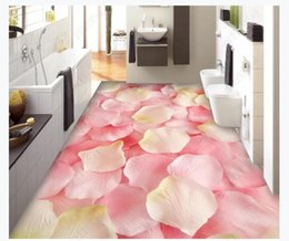 Casa del fiore 3d online-Pavimento 3D pavimento impermeabile carta da parati murale decorazione d'interni Full House Plant Flower Petalo Camera da letto 3D impermeabile Floor Sticker