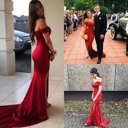 vestido ajustado sin espalda halter Rebajas 2019 Nueva Red Sexy Off Shoulders Sweep Train Satin Mermaid Prom Dresses por encargo Split vestidos de noche Vestidos De Fiesta vestidos de fiesta