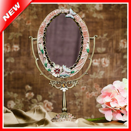 Latas ovais on-line-Estanho Liga Beleza Vaidade Maquiagem Espelho Para A Mulher Espelho De Limpeza De Cosméticos Mesa de Pé Em Casa Decorativa