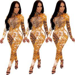 tuta dei bodysuits del leopardo Sconti Tute delle donne leopardo stampa floreale lunga sexy tuta manica Body Salopette corte i pagliaccetti tute in Vendita