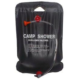 2019 saco de banho de acampamento solar Chuveiro Solar Camp Shower Bag 20 litros preto saco de banho de acampamento solar barato
