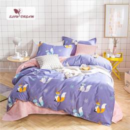 Blu copriletti beige online-SlowDream Fashion Fox Set biancheria da letto blu Set copripiumino Cartoon Lenzuola Biancheria da letto Copriletto Tessuti per la casa per adulti Biancheria da letto