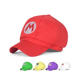 2020 super mario baseball-kappen 5 Arten Super Mario hat Super Mario Bros Anime Cosplay Hat Super Mario Mütze Cotton Baseball-Mütze Erhältlich in drei Größen günstig super mario baseball-kappen
