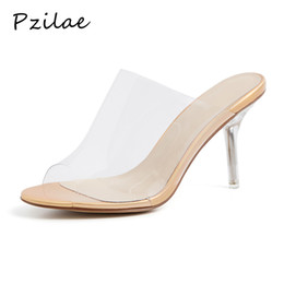 transparent jelly crystals flats Promo Codes - Pzilae 2019 new PVC Jelly sandals crystal open toed sexy thin heels crystal women transparent heel sandals slippers pumps 33-41
