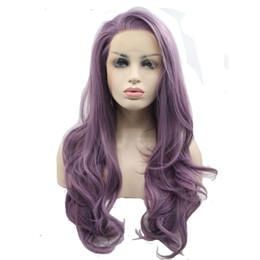 2019 longue perruque violette ondulée Nouveau design créatif euro-américain 24 pouces couleur pourpre longue perruques avant de lacet ondulé résistant à la chaleur pour les femmes