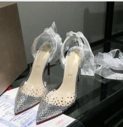 Прозрачные вечерние платья онлайн-2019 горячая распродажа высокое качество дамы высокий каблук прозрачный пояс дрель платье обувь, дамы мода сексуальная партия сандалии свадебные туфли