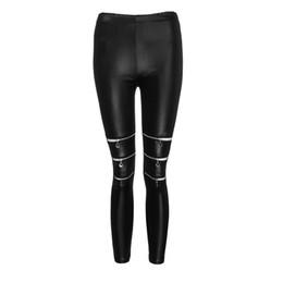 Chiusure lampo ghette nere in pelle online-SAGACE Donna Pantaloni moda donna Nero High Elasticity Zippers Leggings Gym Active Leather Pants Slim fit per il 2019