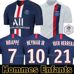 19 20 Maillots de foot PSG ALL Paris Saint Germain Maillot NEYMAR JR MBAPPE SARABIA ANDER HERRERA CAVANI AIR JORDAN 2019 2020 gardien football SHIRT hommes femmes kids enfants kits ? partir de fabricateur