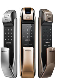 Neue SAMSUNG SHP-DP728 Keyless BlueTooth Fingerprint PUSH PULL Zwei-Wege-Digital-Türschloss Englisch Version Big Einsteckschloss Gold Farbe von Fabrikanten