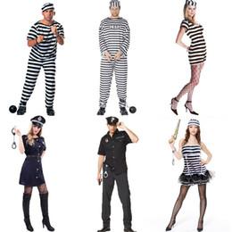 prisonnières Promotion Balle de fête Cosplay Costume Halloween COS Prisonnier Prisonnier Stage Costume Adulte Hommes Femmes Striped Prisonnier Juges Costume PProps Set 06