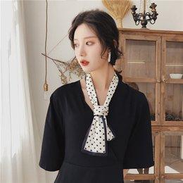 bufanda de gasa estrellas blanca Rebajas Pañuelo pequeño de punto de wavelet Vintage 2019 para mujer pañuelo de 100 cm Tira larga de serpentinas adorables