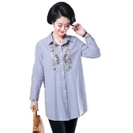 880649b8b 2019 alfileres de blusa Camisas casuales de las mujeres Pin azul raya  vertical Tops Mujer bordado