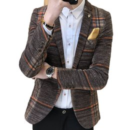 Vestiti maschili coreani online-Uomo Blazer Slim Fit maschio coreano Plaid Blazer Masculino Tweed Button Casual Mens Blazer Jacket Suit Takim Elbise Erkek Y190422