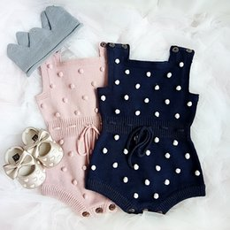 25f10d0b592 Boutique Baby clothes Knit Romper Jumpsuit Bulbs Strings button Sweet Rompers  for Baby girl 100% Cotton 2019 Ins Hot selling Pink Navy 0-24M