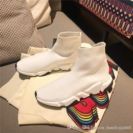 bottes plates jaunes Promotion Nouveau designer hommes et femmes entraîneur de vitesse chaussettes confortables chaussures noir blanc rouge sac jaune kaki mode hommes casual bottes hautes