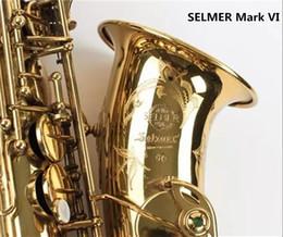 Caixas de sax alto on-line-SELMER Mark VI Alta Qualidade Alto E-flat Saxofone Instrumento Musical Profissional Latão Banhado A Ouro Sax Pearl Botões Com Caso frete grátis