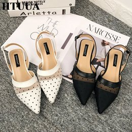 leather strap stitched Coupons - HTUUA New 2019 Spring Summer Shoes Women Black White Mesh Stitching Dot Flat Sandals Female Pointed Toe Casual Shoes SX2161