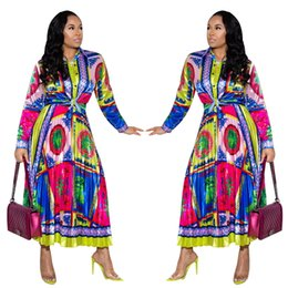 Узорчатые юбки онлайн-Последние разноцветные картины печати женщин из двух частей платья для партии OL Club Smart с длинными рукавами пуговицы длинная рубашка и высокая талия юбка
