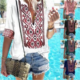 c97e30172695 abbigliamento etnico delle donne Sconti T-Shirt Estate Etnica Camicie  Abbigliamento Donna Deep V Manica