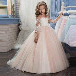 Çocuklar için Çiçek Kız Elbiseler Düğün Pentelei Illusion ile Uzun Kollu Tül Allık Küçük Kızlar Abiye Arapça Çocuk Pageant Elbise nereden