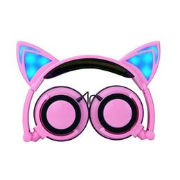 Складные наушники Cat Ears Headset Светодиодные мигающие светящиеся детские картонные наушники с креплением на голову для компьютеров Moblie Phones от