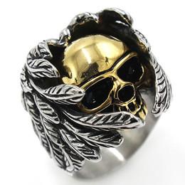 Retro Gothic Punk Men Anéis Trendy Titanium Aço Crânio Lobo Dragão Anéis Masculinos Hip Hop Anel de Jóias de Halloween Acessórios Presente cheap dragon jewelry for men de Fornecedores de jóias de dragão para homens