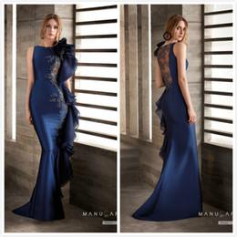 Argentina Sirena de encaje con cuentas 2019 vestidos de noche africanos azul marino de satén vestidos de baile vestidos de fiesta de dama de honor de la fiesta formal barata atractiva Suministro