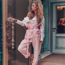 calça rosa de pernas largas Desconto Mulheres Moda Bolso Macacão Comprimento Completo Sling Pants Magro Rosa Macacão Sem Mangas de Pernas Largas Calças Compridas Calças Casuais