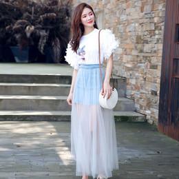 71076a44e2 Women Ruffles Flare Sleeve Cartoon Pig Beaded Cotton T-shirts+High Waist  Denim Splice Tulle Jeans Skirt 2pcs Set Long Skirt Suit