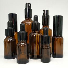 1 oz 30 ml 5-100 ml Âmbar De Vidro Líquido Conta-gotas Garrafa de spray de garrafas de garrafa para o óleo essencial Perfume, limpador facial, shampoo, gel de banho de