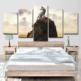 2020 fotos de lobo gratis HD Impreso 5 piezas Wolf Totem Books Poster Wall Art Canvas Painting Wall Pictures para sala de estar Envío gratis fotos de lobo gratis baratos