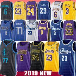 Camisas de basquete on-line-23 LeBron James Basketball Jersey 3 Anthony NCAA Davis Luka 77 Doncic Kristaps 6 Porzingis 0 Kobe Kyle 24 Bryant Kuzma Crenshaw faculdade