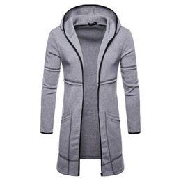 Черный трикотаж с капюшоном с капюшоном онлайн-2019  Fashion Cloak Outerwear winter Hoodies Men Black Cardigan Longer Hoodie Men Hoody Mantle Hip Hop Sweatshirt