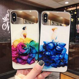 Meninas bonitas do telefone on-line-Bela flor espelho colorido vidro phone case para iphone xs max xr x moda menina brilhante capa para iphone 6 6s 7 8 plus